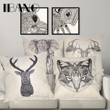 45x45cm/17.7x17.7 Linen Cushion for Decorative Animal Printed Home Decor Pillow Cover
