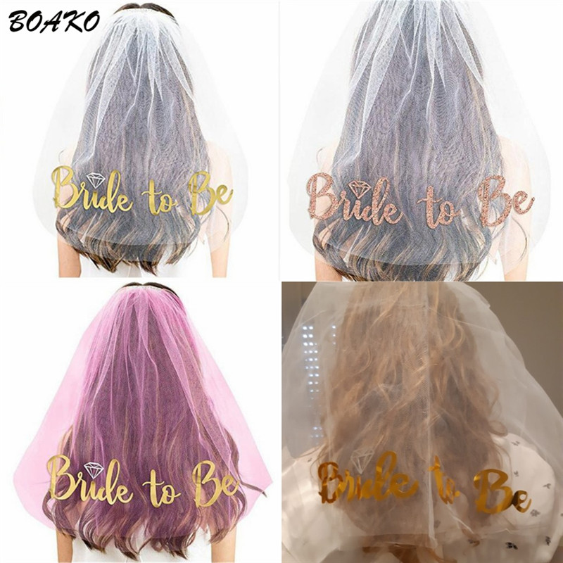BOAKO Glitter Bride To Be Wedding Veils Bachelorette Party Bridesmaid Bridal with Comb Short One Layer Tulle