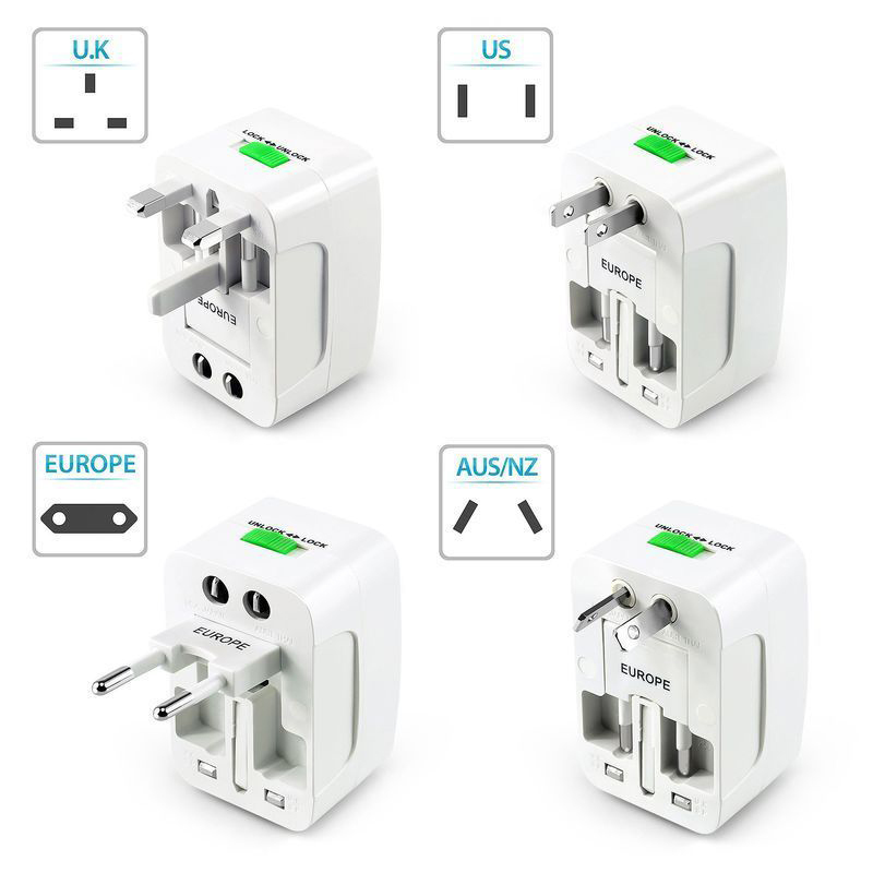 Universal AC Power Charger Plug Adapter Global Travel Power Converter AU UK US EU Conversion Plugs Travel Power Adapter