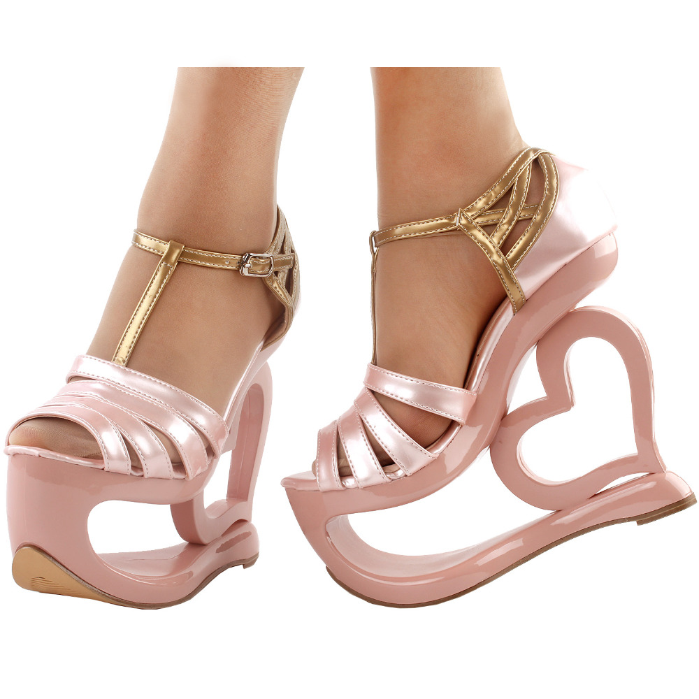 LF40212 Show Story Elegant Baby Pink T-Strap Heart Heel Wedge Bridesmaid Wedding Sandals lf40203 sexy white pink blue strappy heart heel wedge wedding sandals sz 4 5 6 7 8 9 10