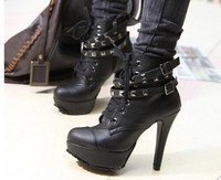 Women High Heels Lace Up Ankle Boots Female Double Buckle Sexy Party Dress Woman Platform Shoes Motorcycle Boots Short Boot 42