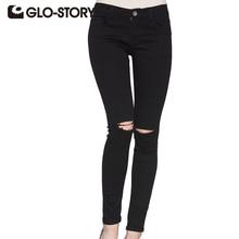 GLO-STORY Brand 2017 Women boyfriend Jeans american apparel chic sexy black hole Distressed jeans women Denim Pants WNK-3295