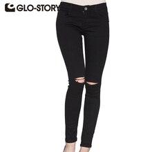 Glo-story марка 2017 женщины boyfriend джинсы american apparel шик сексуальная черная дыра проблемных джинсы джинсовой ткани женщин брюки wnk-3295