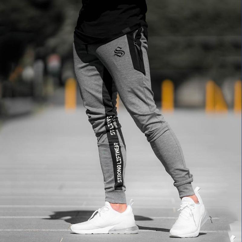 2019 New Mens Sweatpants Joggers Fitness Casual Pants Cotton Men Black Workout Skinny Sportswear Jogger Trousers Pantalon Homme