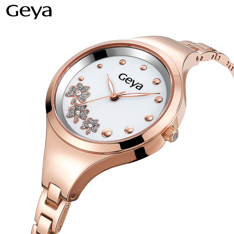Geya Women Watches Luxury Brand Fashion Quartz watch Rose Gold Women Dress Discolor Flower Dial Bracelet