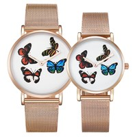 Cagarny модное платье женские часы Бабочка Дизайн стальной браслет наручные часы дамы девушки сетки ремешок золотые кварцевые часы