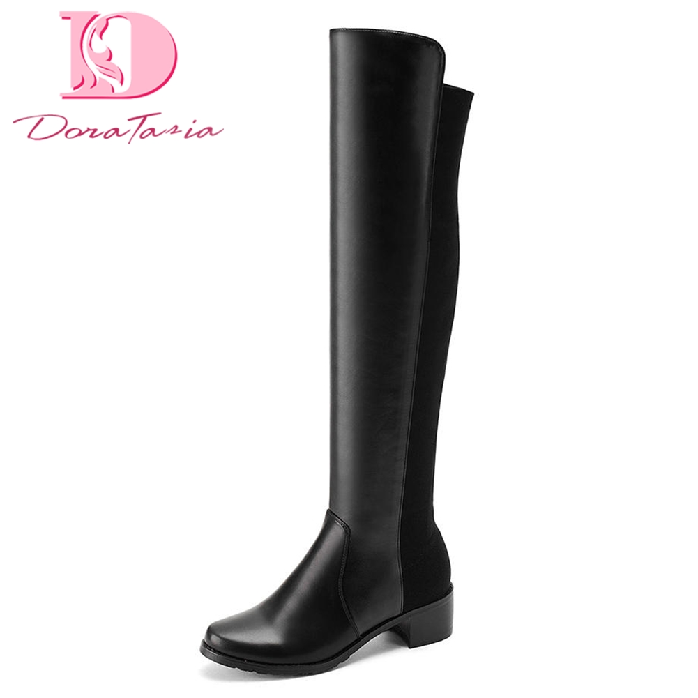 DoraTasia 2018 brand Large Size 34-43 Over The Knee Boots Woman Shoes Add Fur Square Heels Shoes Woman Winter Boots karinluna 2018 plus size 30 50 pointed toe square heels add fur warm winter boots woman shoes woman ankle boots female