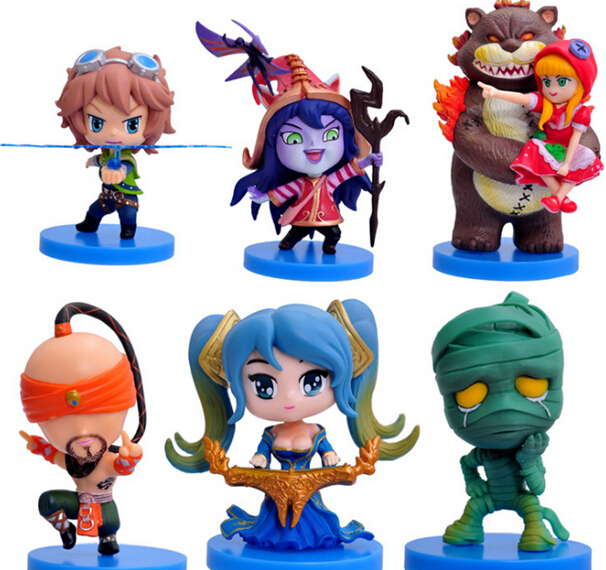 ФОТО new 6pcs/lot 8cm second generation action figure toy model set for collection gift annie lulu lee sin ezreal sona amumu hot