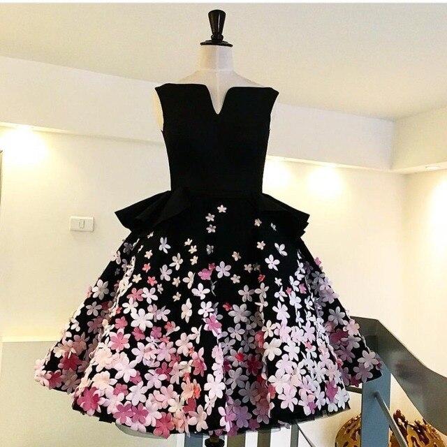 New Fashion 2017 A-Line Short Party Dresses Real Photos Appliqued Elegant Sleeveless Formal Cocktail Dress Robe De Soiree Longue