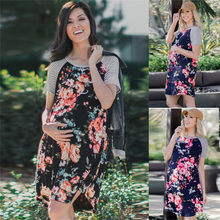 2 Color Maternity Clothes Dress for Pregnant Women Maternity Floral Print Short Sleeve Casual Dress Maternity Dresses JE21#F(China)