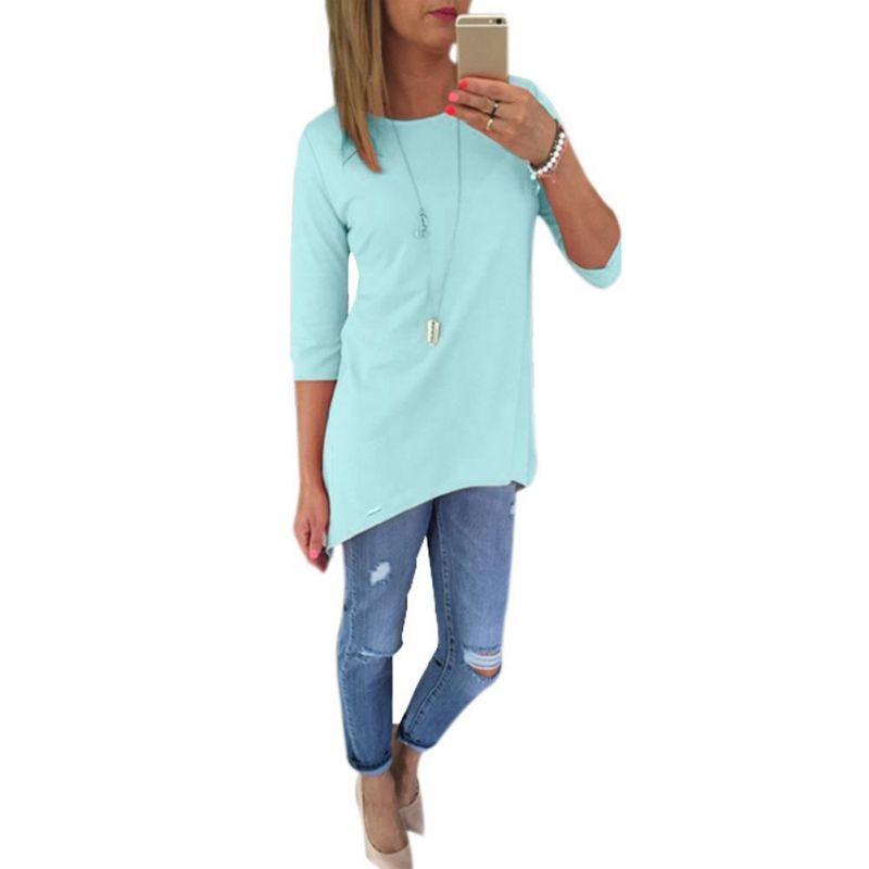 На лето и весну для женщин 3/4 рукав длинные рубашки дамы Пляж BOHO мини шифоновая рубашка
