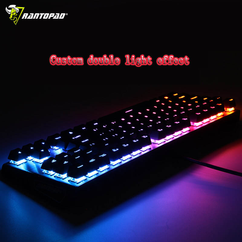 Rantopad MXX Black RGB Custom Backlit Mechanical Gaming Keyboard 87-Key Deluxe Black Aluminium Cap DOTA2 Tank World CS