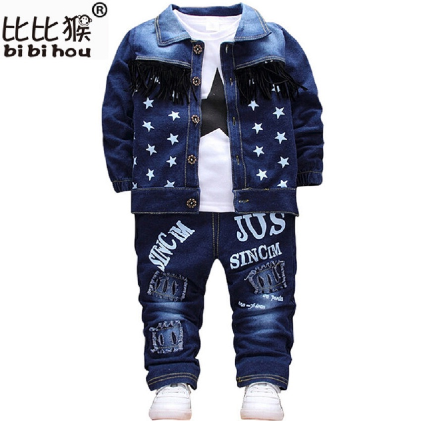 Bibihou Baby toddler Sport Clothes Suit kids Clothing Set Cotton Boy Clothes Denim Jeans Coat T-shirt Pants 3PCS Star Tracksuit