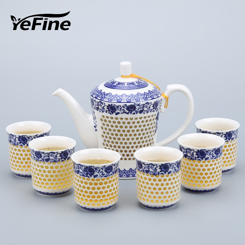 YeFine Chinese Kung Fu Tea Set Porcelain Hollow Out Creative Design Ceramic Teapot With 6 Tea Cups Travel Drinkware Luxury Gift