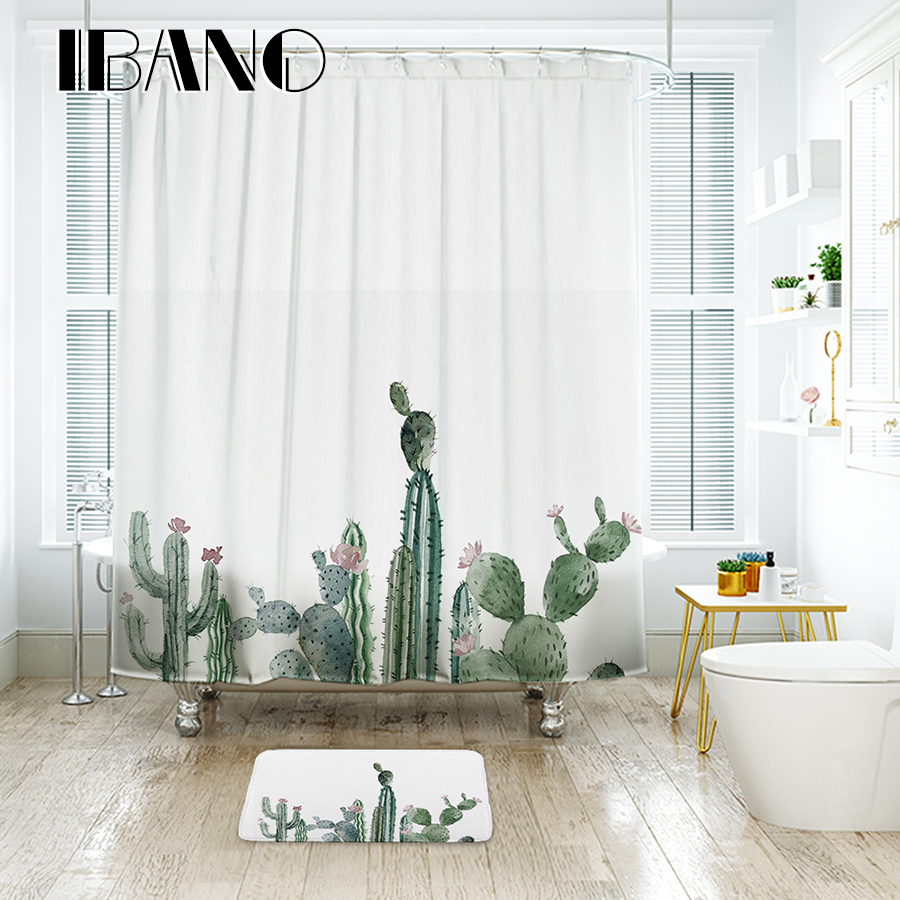 IBANO Tropical Cactus Shower Curtain Waterproof Polyester Fabric Bath For The Bathroom Decorate With 12pcs
