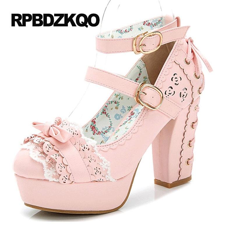 Kawaii blanc rose plate-forme Nude mignon bloc nœud à lacets taille japonaise 33 femmes bride à la cheville Lolita mode chaussures talons hauts pompes