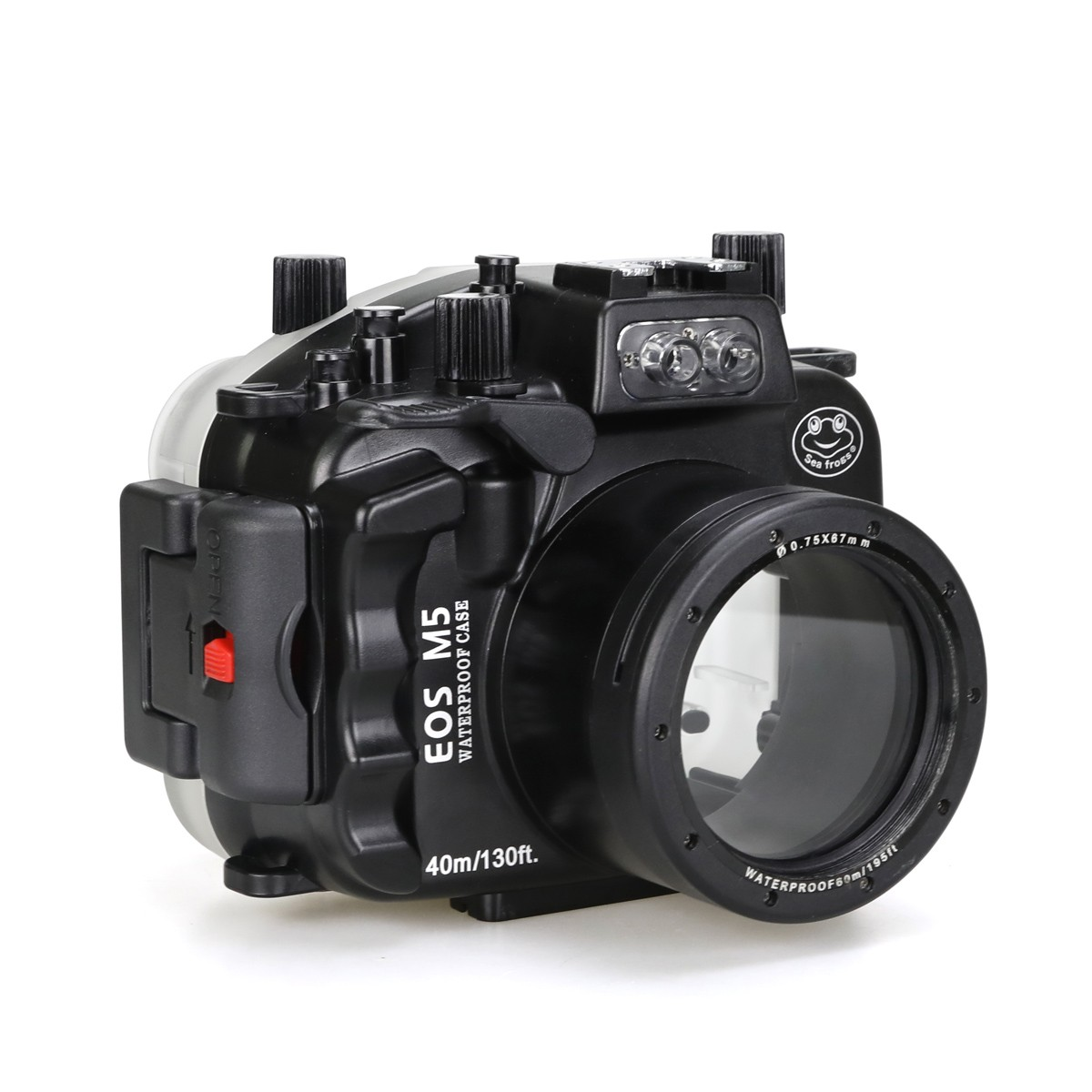 SeaFrogs 40m/130ft Underwater Camera Housing For Canon EOS M5 18-55mm Lens Waterproof Bags Case with WA-3 Wire Angle Dome Port meikon 40m waterproof underwater housing case for canon eos m 18 55mm