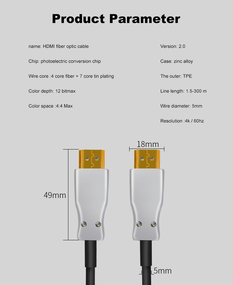 14 HDMI 2.0 Cable Active Optical Cable Long Transmission Lossless 4K 60Hz for HD TV Projector PS4 20m 30m 50M 10M Fiber Optic HDMI