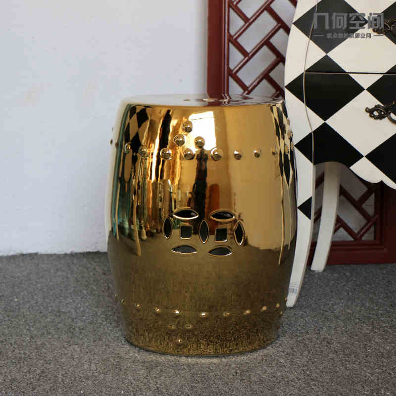 Gold/Silver Garden porcelain stool Jingdezhen drum toilet shower stool bathroom stool for dressing table chinese stool ottoman jingdezhen golden glazed ceramic porcelain garden face stool