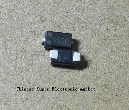 200 шт. SS26 SMD Schottky, Барьерный выпрямительный диод 2A 60V DO-214AC SMA