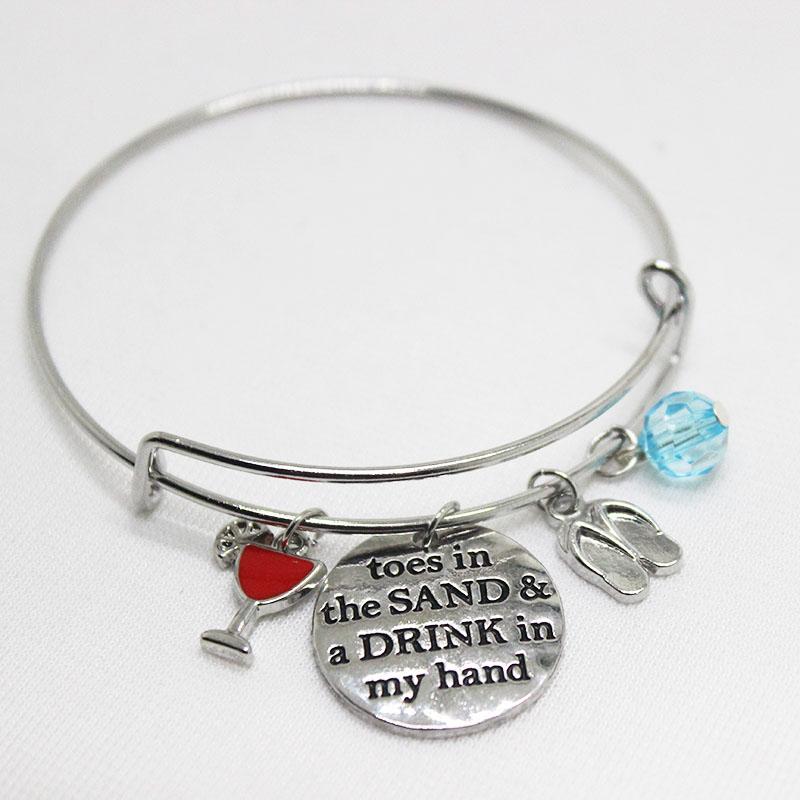New arrival fashion jewelry Toes in the sand and drink in my hand Charms pendant Bracelet for wo men or girl jewelry gift