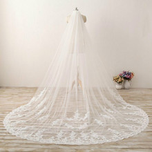 Romantic Royal Cathedral Wedding Veils Lace Bridal Veil Soft Tulle Chapel with Plain Edge Long ivory veil