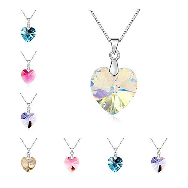1e580e2c81f2 € 6.13 |De Btime 2017 collares Del Corazón Del Amor Marca de cristales  collares pendientes Cadena de Plata Joyería de Moda Las Mujeres Cristales  ...