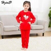 HziriP New Winter Children Pajamas Sets Cartoon Pig Red Sleepwear High Quality Flannel Coral Down Kids