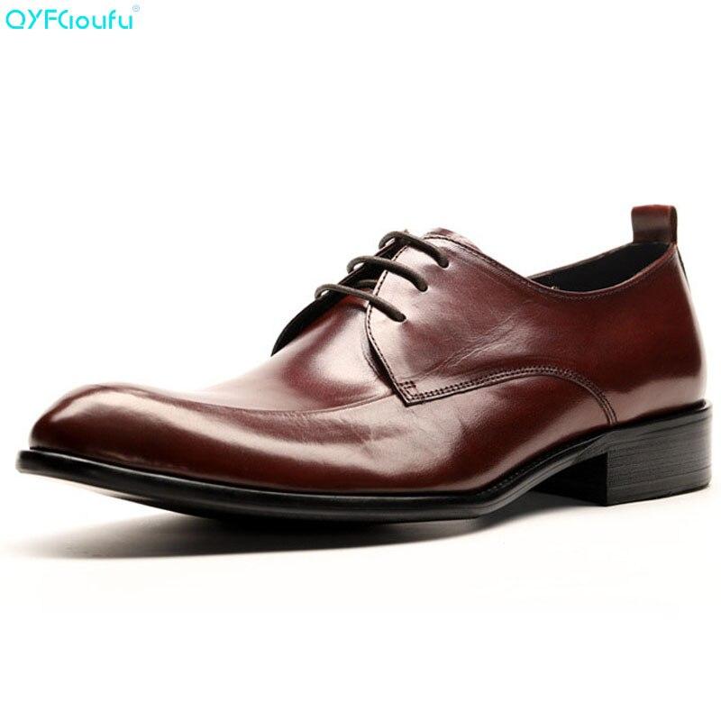 QYFCIOUFU Designer chaussures de Mariage homme en cuir véritable chaussures Oxford pour hommes Mariage formel hommes bout pointu chaussures habillées italiennes