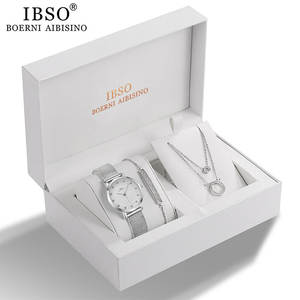 IBSO Women Quartz Watch Set Crystal Design Bracelet Necklace Watch Sets Female Jewelry Set Fashion Silver Set Watch Lady's Gift