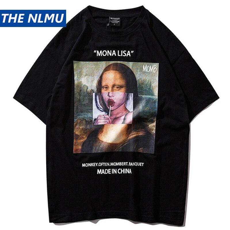 Mona Lisa T-shirt Engraçado Impresso Manga Curta camisa dos homens t Hip Hop Streetwear Primavera Verão 2019 Tops T-shirts de Algodão tees HS05