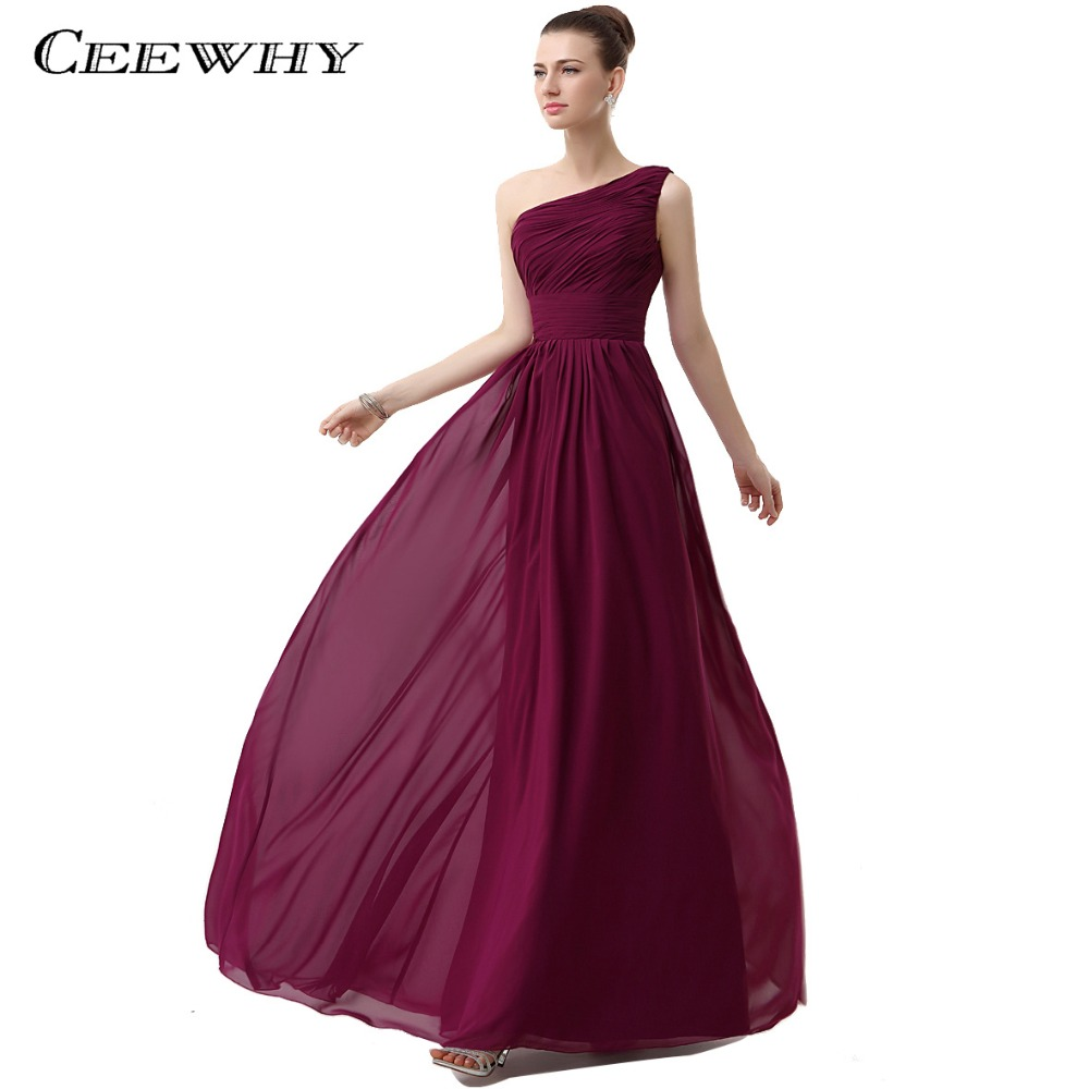 CEEWHY One Shoulder Chiffon Dress Long Gowns for Women Wedding Party ...