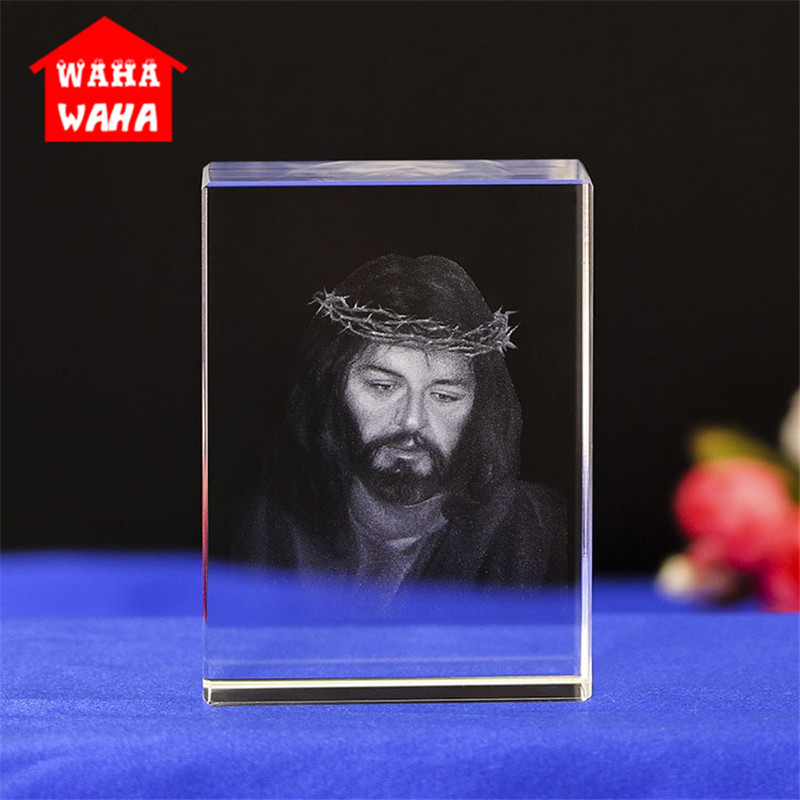 3D Laser Engraved Rectangles K9 Crystal Jesus Figurines White DIY Crystal And  Christian Souvenir Crafts For Home Decoration