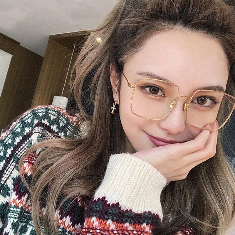 COOLSIR Big Square Eyeglasses Frame Women Mens Clear Transparent Lens Glasses Metal Black Gold Silver Shades Brand Designer
