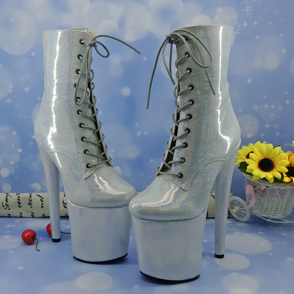 Leecabe 20CM Pole dancing shoes silver glitter upper and covered High Heel platform Boots closed Pole Dance hight bootLeecabe 20CM Pole dancing shoes silver glitter upper and covered High Heel platform Boots closed Pole Dance hight boot