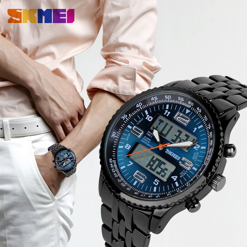 Fashion <font><b>Skmei</b></font> Brand LED Digital Watches Casual Men's Luxury Military Watch Full Stainless Steel Sports Quartz Watches <font><b>1032</b></font> image