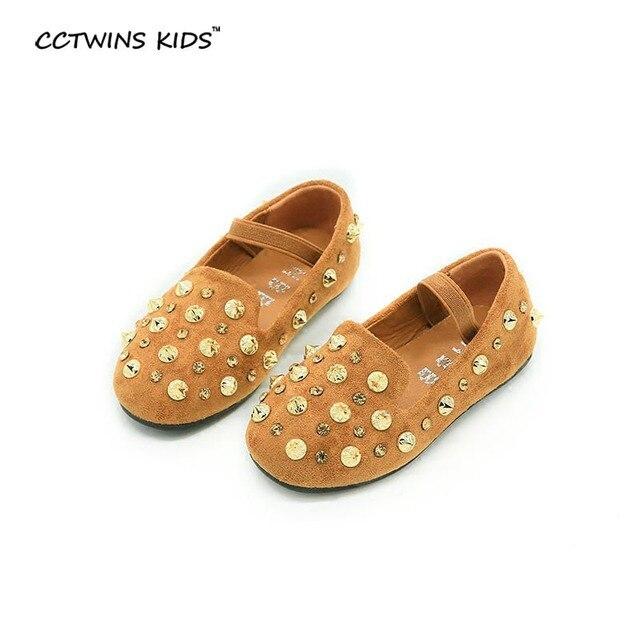 CCTWINS KIDS 2017 spring child fashion stud baby boy girl brand black kid toddler pu leather ankle shoe flat loafer camel G976