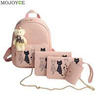 4pcs Cat Printed Backpack Women PU Leather Backpack Shoulder Bag Ladies Simple Pink Clutch Purse Bag