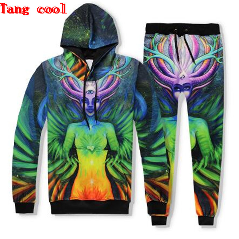 2018 spring and autumn new HD 3D wizard deer head beauty print HAT + long pants suit fashionable colorful track and field suit