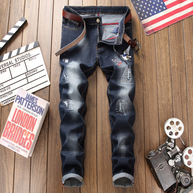 brand skinny jeans men High Quality Slim Fit Designer Denim Patch Jeans Male Pants Brand Clothing Men`s Destroyed homme