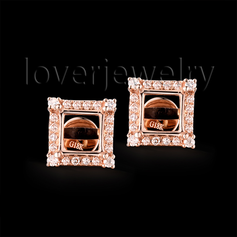 Exquisite 750 Rose Gold Princess Cut 5.5mm Semi Mount Diamond Stud Earrings For Women Party WE040 starry pattern gold plated alloy rhinestone stud earrings for women pink pair