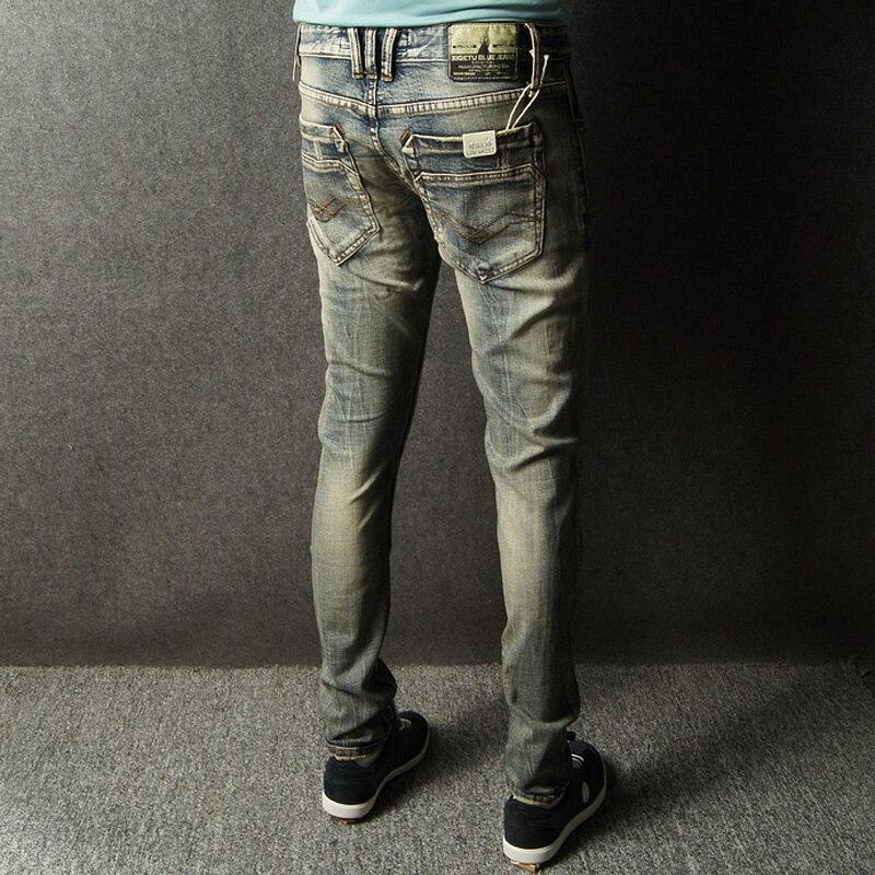 f055a3c2ac Calidad superior de High Street Jeans Retro Raya Diseñador Jeans Hombres  Pantalones Slim Fit Botones Jeans Hombres LGD617 en Pantalones vaqueros de  La ropa ...