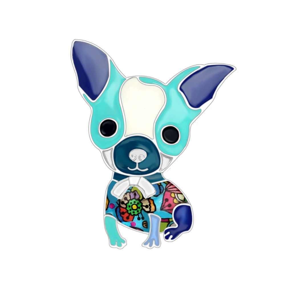 Bonsny Enamel Alloy Chihuahua Anjing Bros Pin Hewan Baru Perhiasan untuk Wanita Perempuan Pecinta Hewan Peliharaan Hadiah Syal Aksesoris Pakaian
