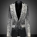 Новая мода Мужская Цветочные Печатный Повседневная Деловые Костюмы Fomal костюм Blazer Куртки Пальто Плюс Размер Негабаритных Jaqueta Chaqueta Kyptka