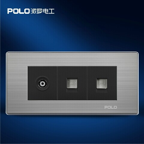 купить Free Shipping, POLO Luxury Wall Socket Panel, Computer+Telephone+TV Socket, Champagne/Black, Power Electrical Outlet, 110~250V по цене 981.04 рублей