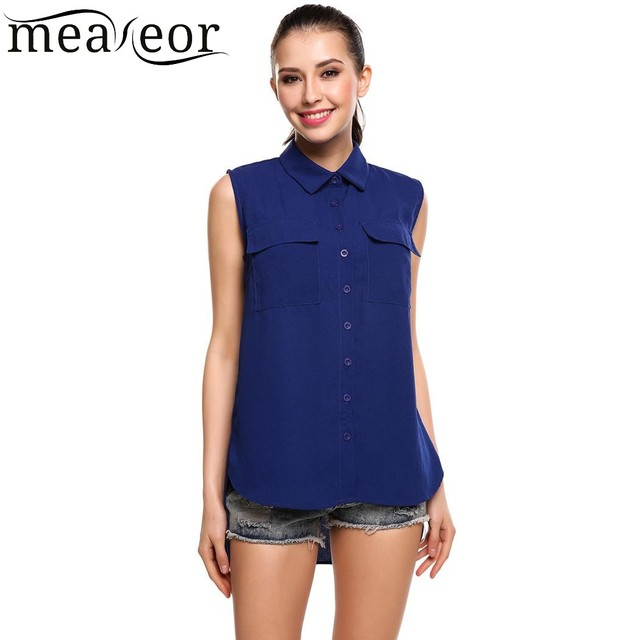 bcc21abf71ea Meaneor New Women Solid Sleeveless Button Down Chiffon Blouse Tank Shirt  Turn Down Collar 2018 Summer Female Blouse Tank Shirt