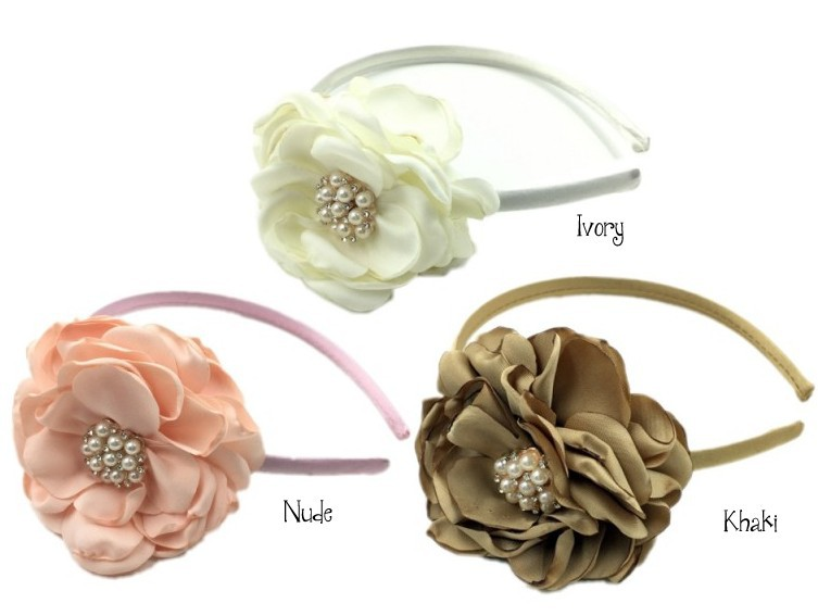 12pcs /lot Satin Flower Matching Plastic Headband Layered Flower Plastic Headband Baby Headband