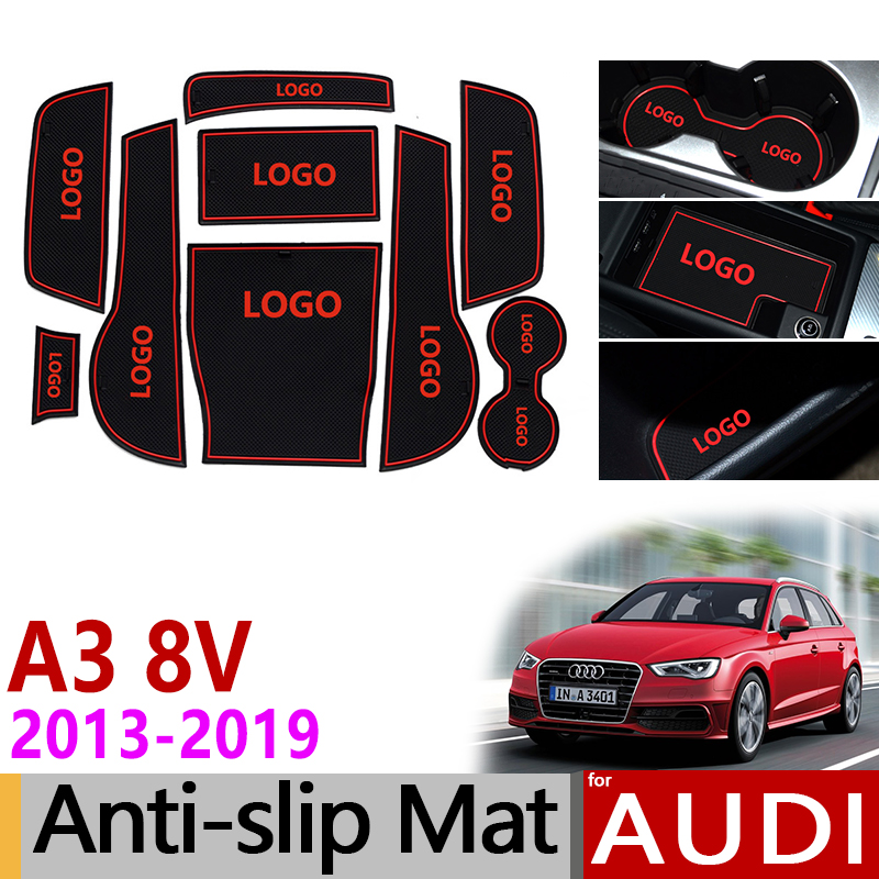 Anti-Slip Gate Slot Mat Rubber Coaster for <font><b>Audi</b></font> <font><b>A3</b></font> 8V 2013 2014 2015 2016 2017 <font><b>2018</b></font> 2019 S3 RS3 RS 3 S Line Accessories Stickers image