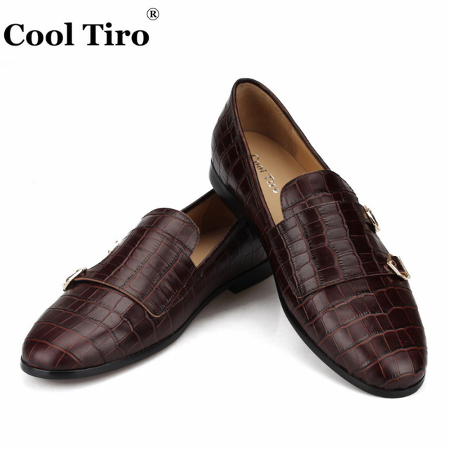 COOL TIRO Crocodile print Double-Monk Loafers Men Moccasins SmokingSlippers Wedding Dress Shoes Men's Flats Casual Shoes Leather