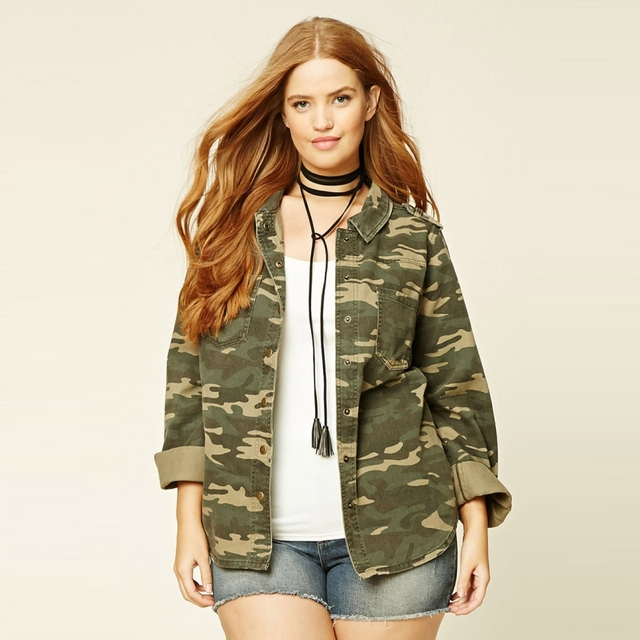 d2cd0822ae8 High Quality Autumn Street Parka Jackets Plus Size Military Women Coat  Oversized Boyfriend Utility Jacket In Camo Print 5XL 6XL